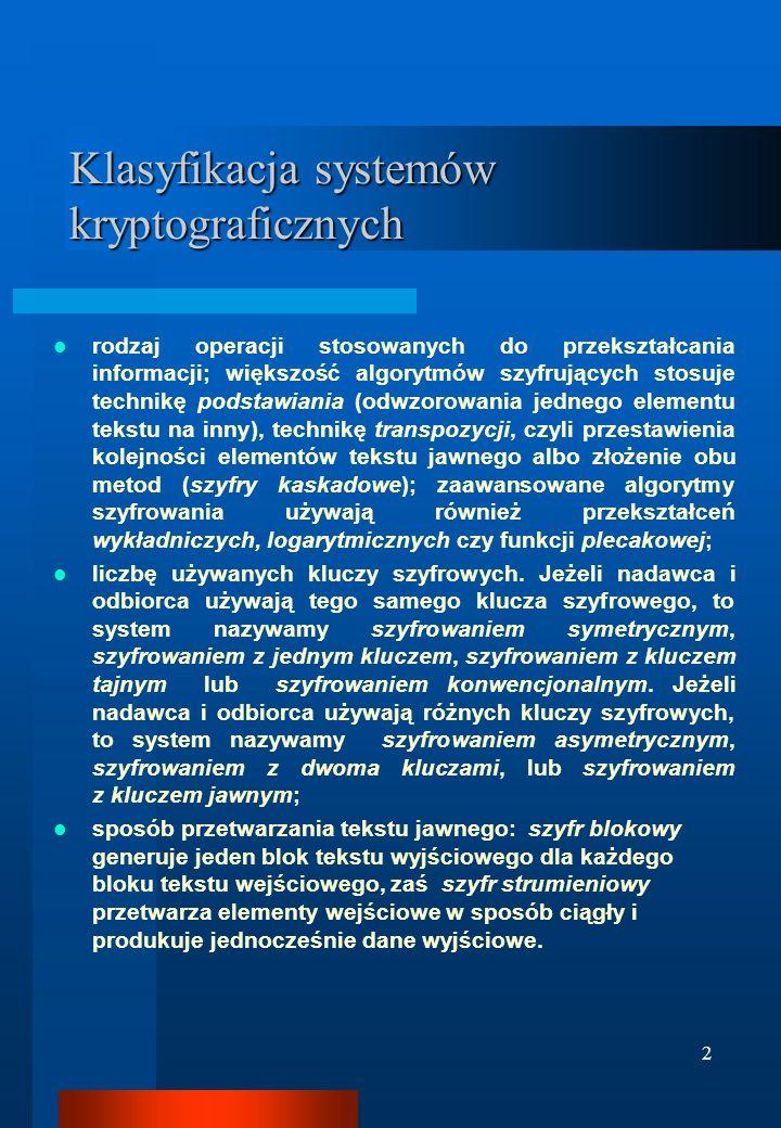 Klasyfikacja systemów kryptograficznych