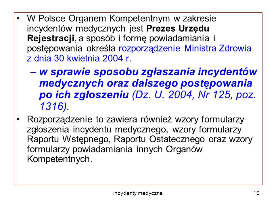 W Polsce Organem Kompetentnym w zakresie incydentów medycznych jest Prezes Urzędu Rejestracji, a sposób i formę powiadamiania i postępowania określa rozporządzenie Ministra Zdrowia z dnia 30 kwietnia 2004 r.