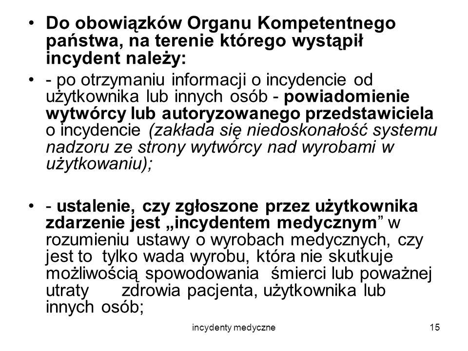 Do obowiązków Organu Kompetentnego państwa, na terenie którego wystąpił incydent należy: