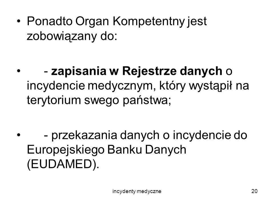 Ponadto Organ Kompetentny jest zobowiązany do: