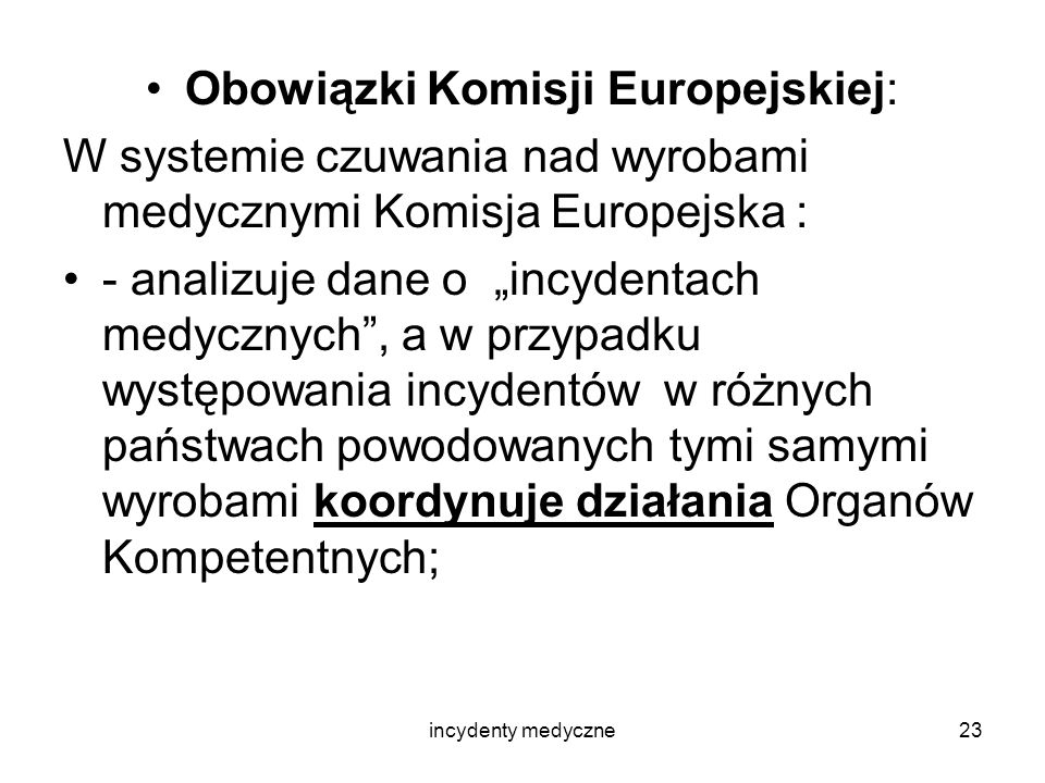 Obowiązki Komisji Europejskiej: