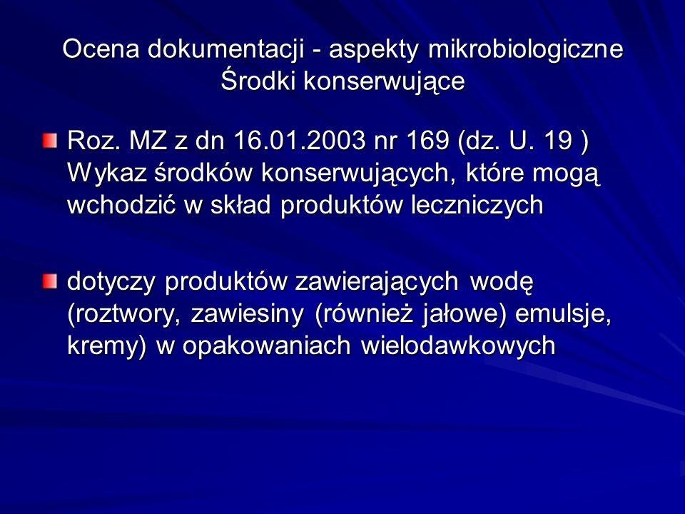Ocena dokumentacji - aspekty mikrobiologiczne Środki konserwujące