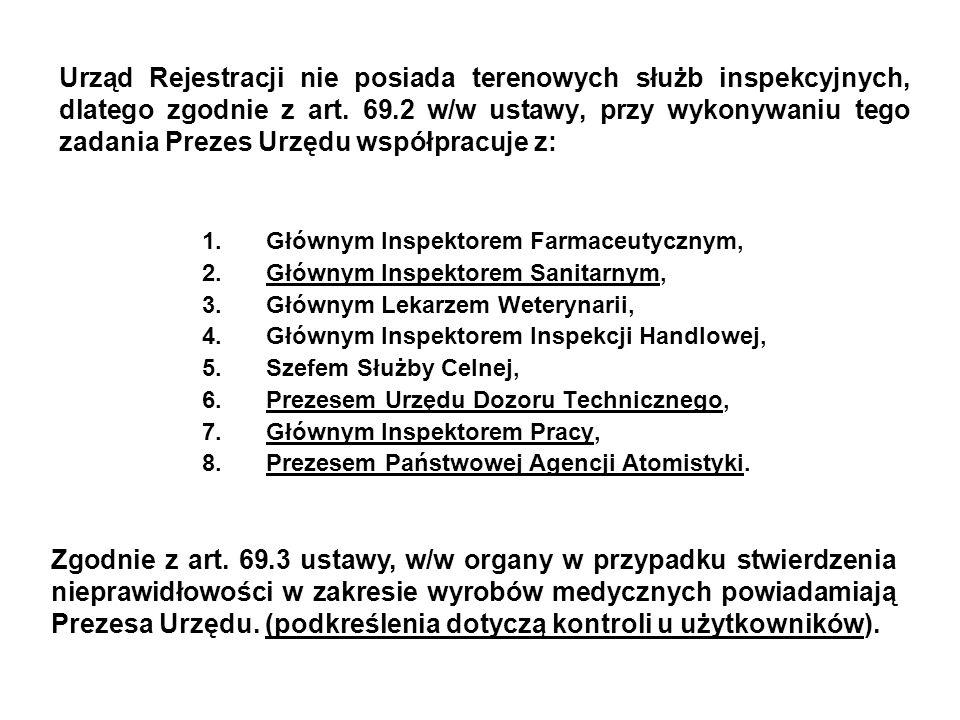 Urząd Rejestracji nie posiada terenowych służb inspekcyjnych, dlatego zgodnie z art. 69.2 w/w ustawy, przy wykonywaniu tego zadania Prezes Urzędu współpracuje z: