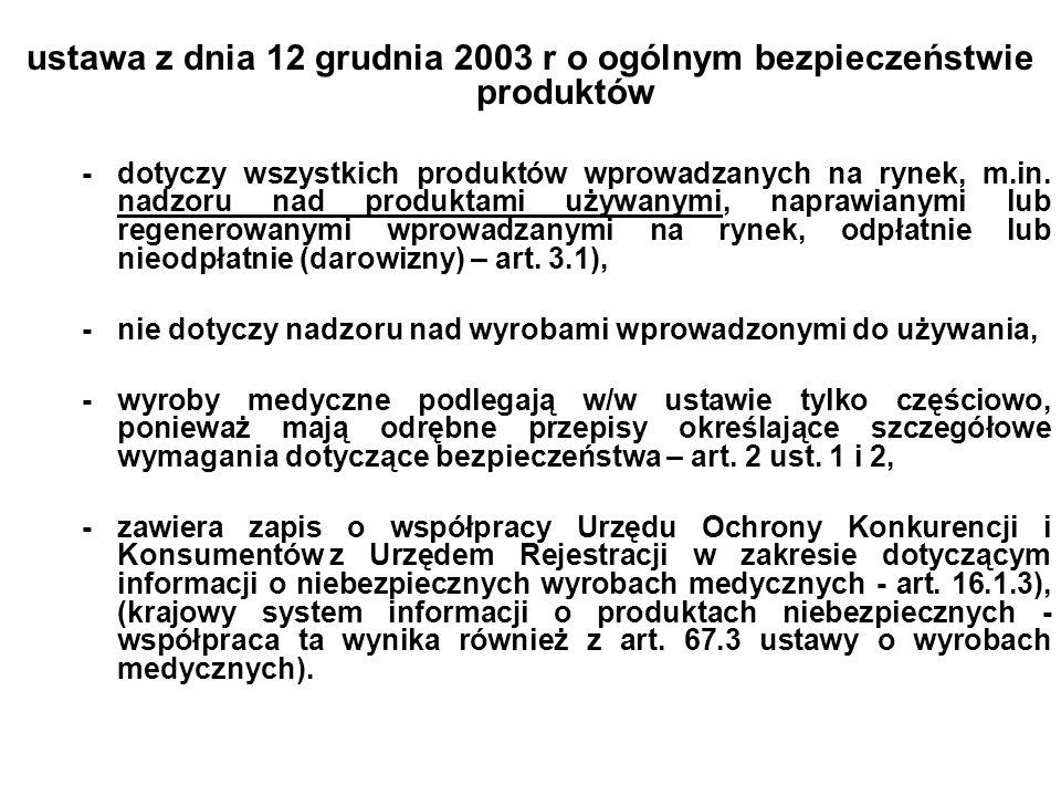 ustawa z dnia 12 grudnia 2003 r o ogólnym bezpieczeństwie produktów