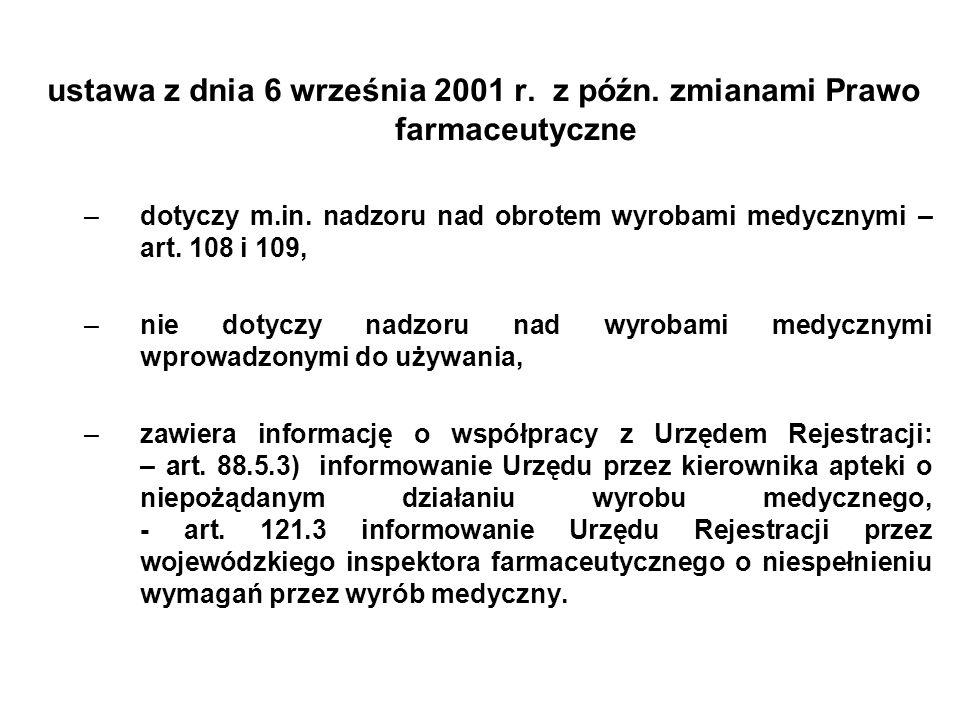 ustawa z dnia 6 września 2001 r. z późn. zmianami Prawo farmaceutyczne