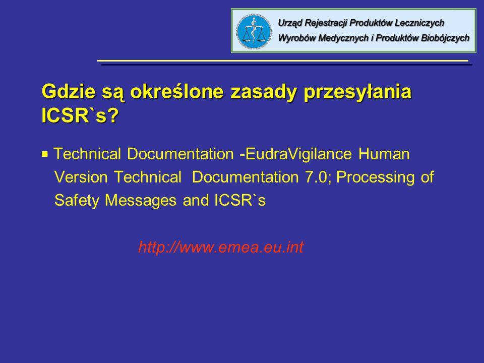 Gdzie są określone zasady przesyłania ICSR`s
