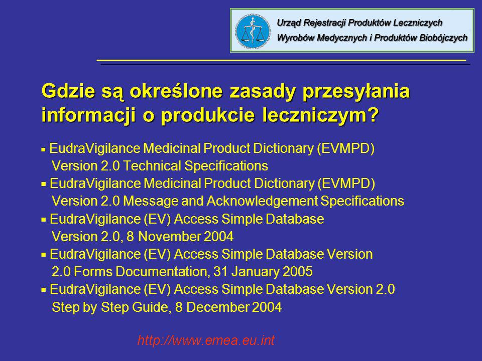 Gdzie są określone zasady przesyłania informacji o produkcie leczniczym