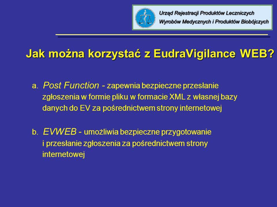 Jak można korzystać z EudraVigilance WEB