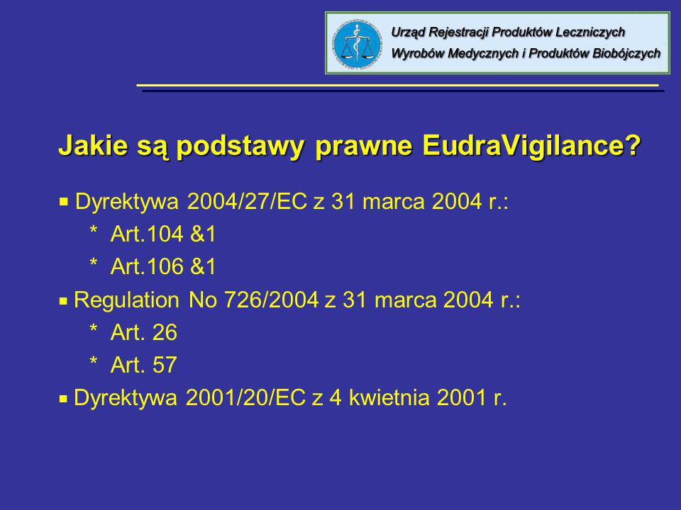 Jakie są podstawy prawne EudraVigilance