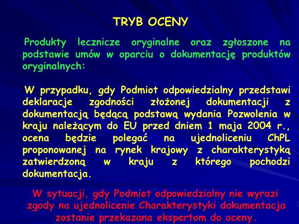 TRYB OCENY Produkty lecznicze oryginalne oraz zgłoszone na podstawie umów w oparciu o dokumentację produktów oryginalnych: