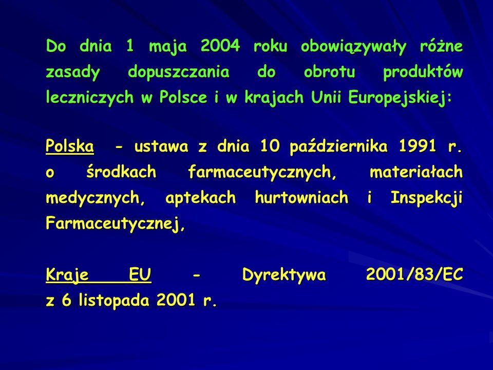 Do dnia 1 maja 2004 roku obowiązywały różne zasady dopuszczania do obrotu produktów leczniczych w Polsce i w krajach Unii Europejskiej: