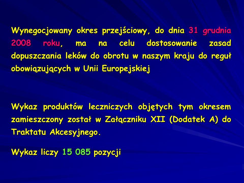 Wynegocjowany okres przejściowy, do dnia 31 grudnia 2008 roku, ma na celu dostosowanie zasad dopuszczania leków do obrotu w naszym kraju do reguł obowiązujących w Unii Europejskiej