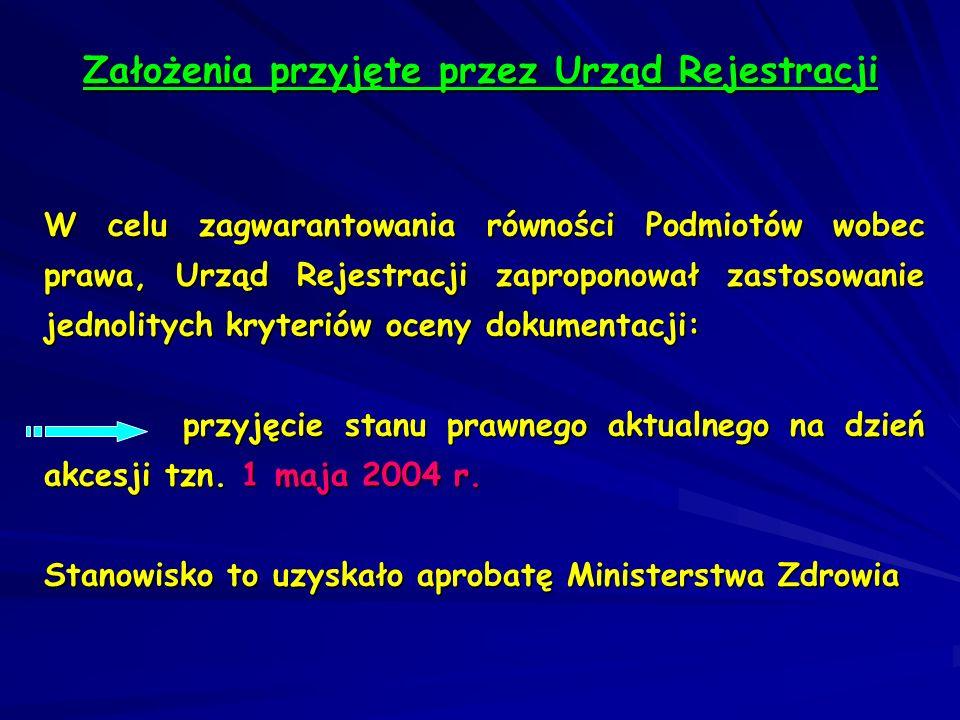 Założenia przyjęte przez Urząd Rejestracji
