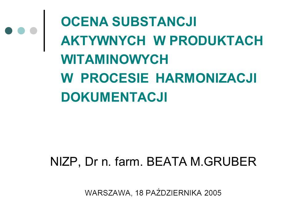 NIZP, Dr n. farm. BEATA M.GRUBER WARSZAWA, 18 PAŹDZIERNIKA 2005