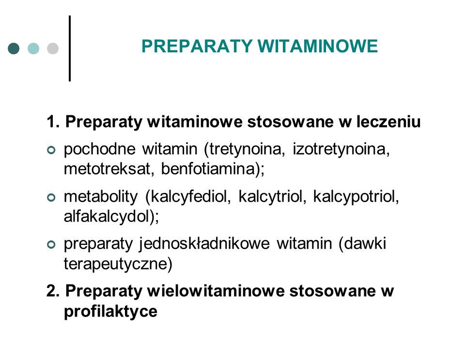 PREPARATY WITAMINOWE 1. Preparaty witaminowe stosowane w leczeniu