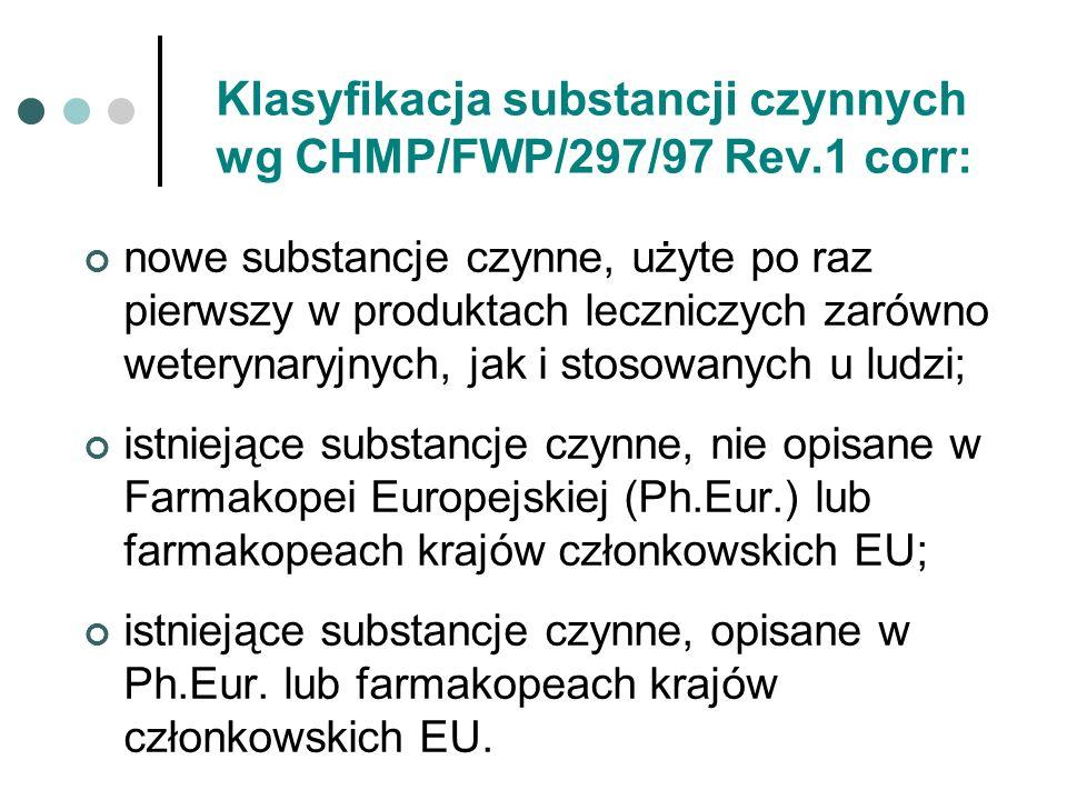 Klasyfikacja substancji czynnych wg CHMP/FWP/297/97 Rev.1 corr: