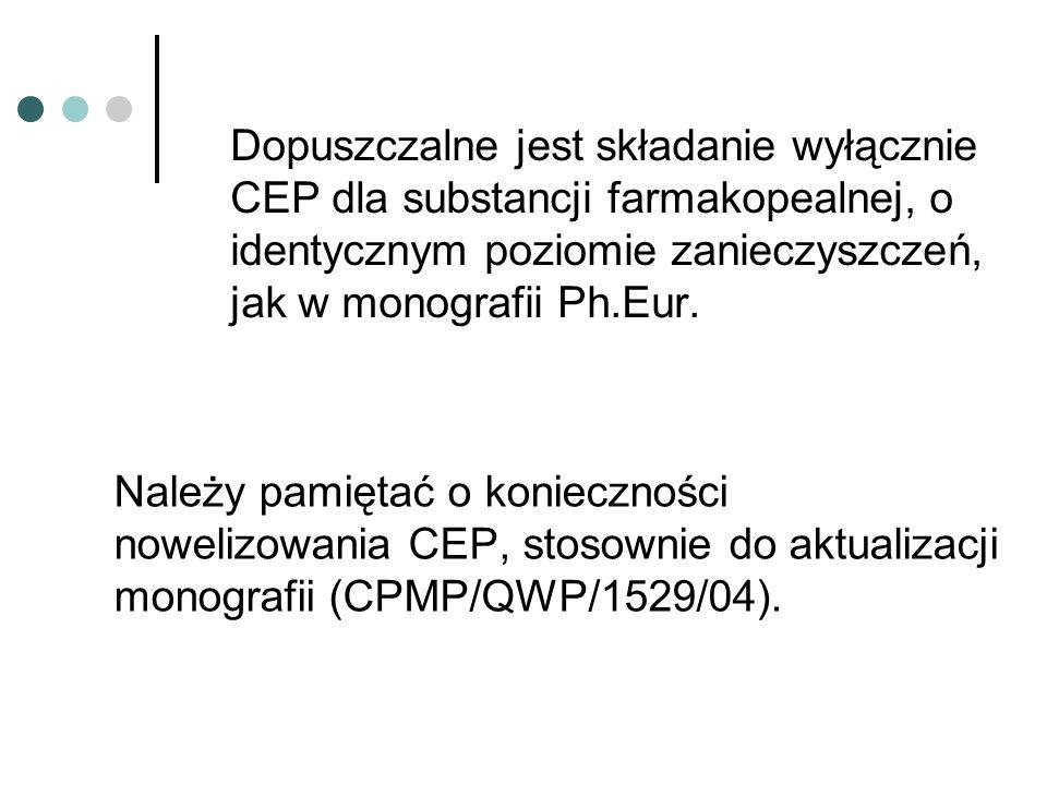Dopuszczalne jest składanie wyłącznie CEP dla substancji farmakopealnej, o identycznym poziomie zanieczyszczeń, jak w monografii Ph.Eur.
