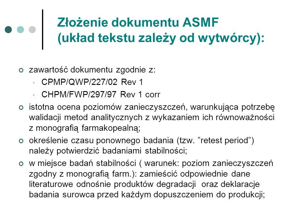 Złożenie dokumentu ASMF (układ tekstu zależy od wytwórcy):