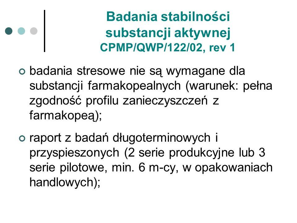 Badania stabilności substancji aktywnej CPMP/QWP/122/02, rev 1