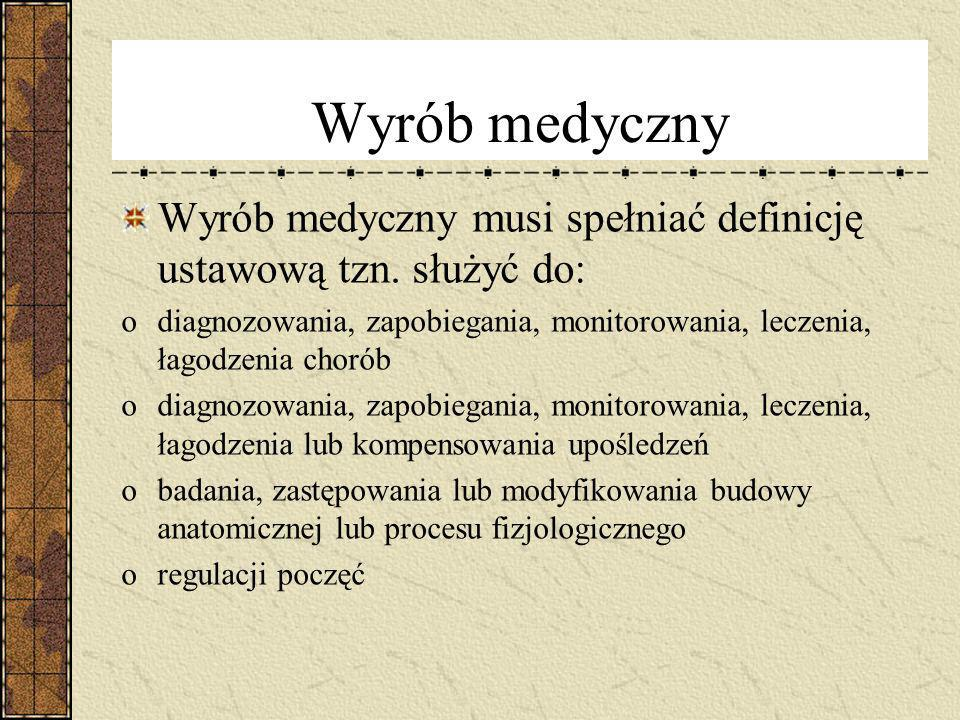Wyrób medyczny Wyrób medyczny musi spełniać definicję ustawową tzn. służyć do: