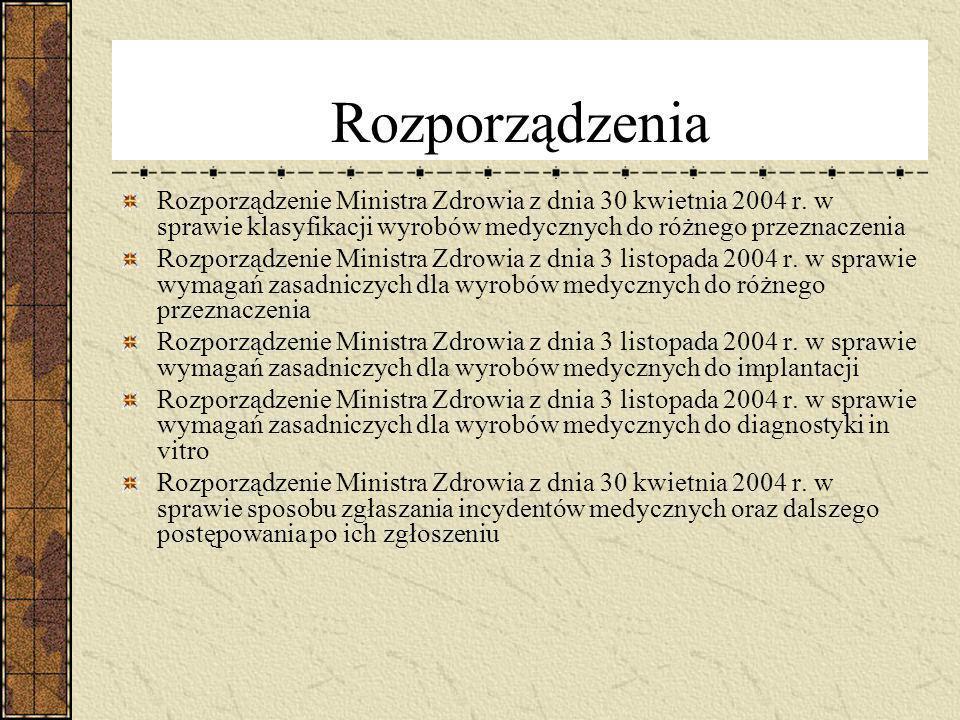 Rozporządzenia Rozporządzenie Ministra Zdrowia z dnia 30 kwietnia 2004 r. w sprawie klasyfikacji wyrobów medycznych do różnego przeznaczenia.