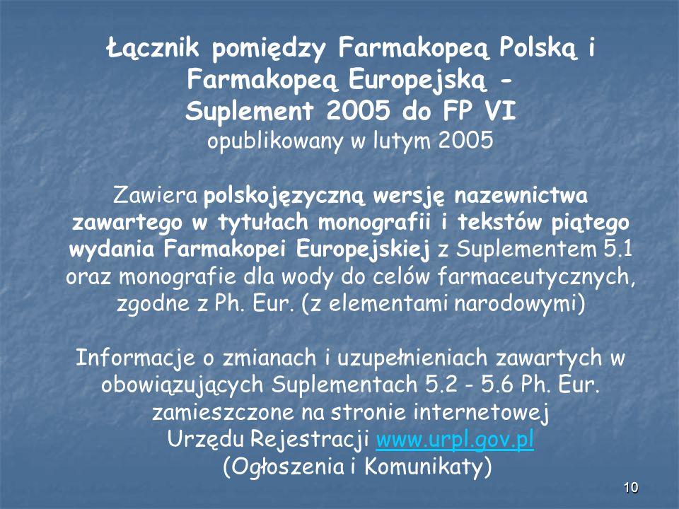 Łącznik pomiędzy Farmakopeą Polską i Farmakopeą Europejską -