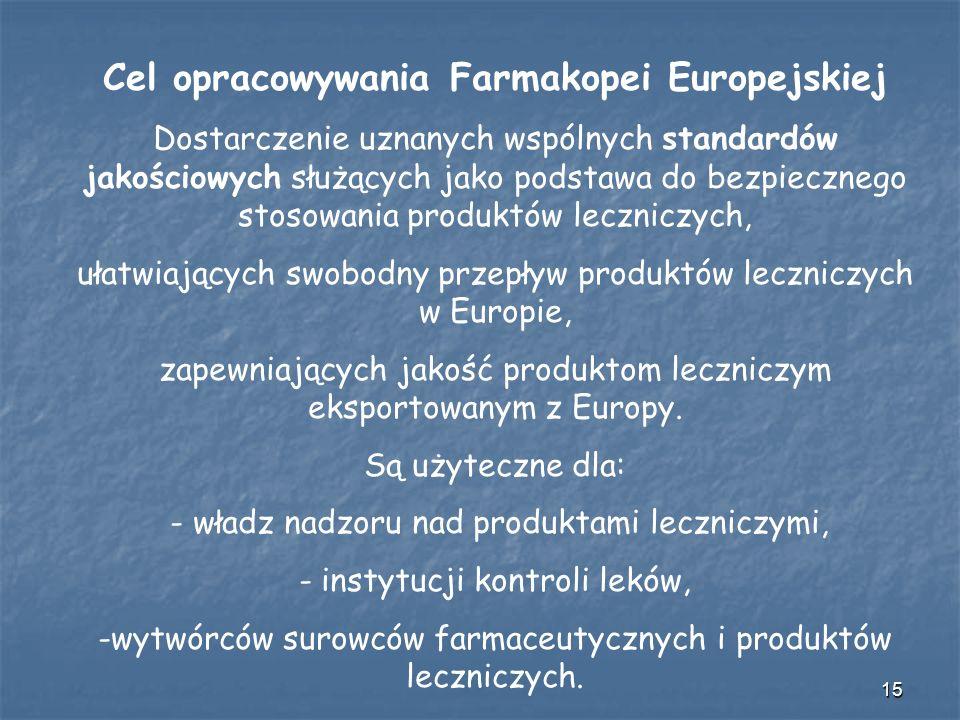 Cel opracowywania Farmakopei Europejskiej