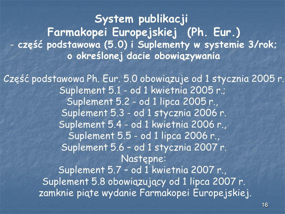 System publikacji Farmakopei Europejskiej (Ph. Eur.)