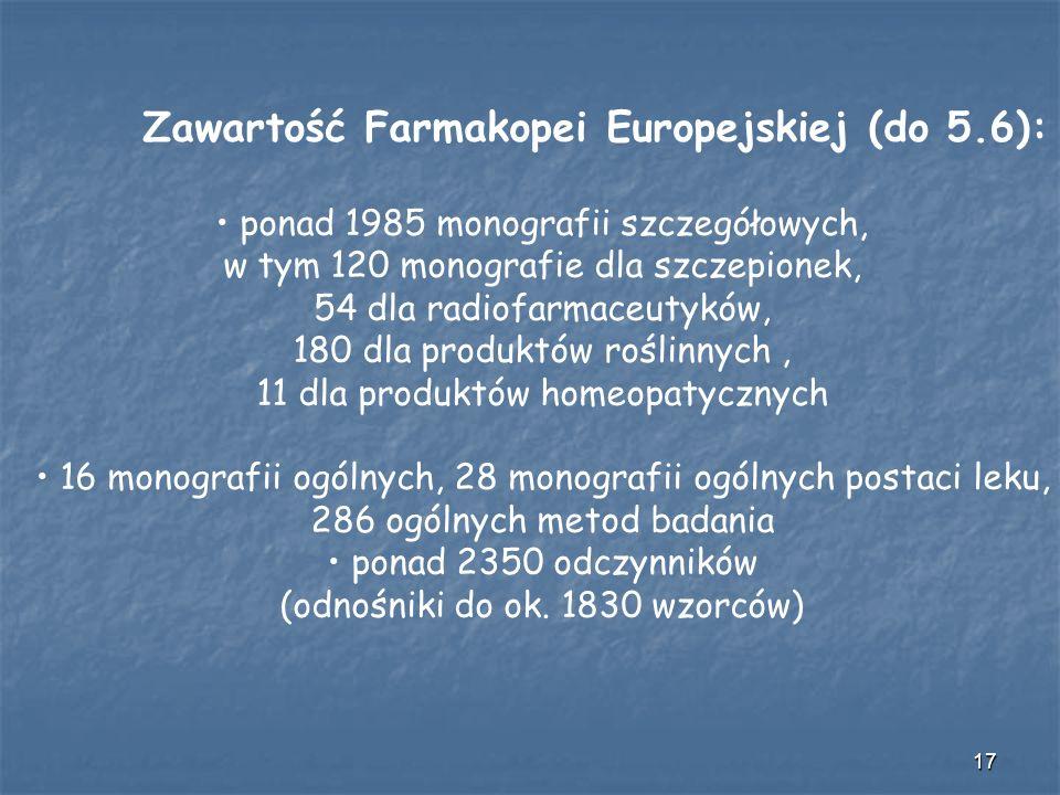 Zawartość Farmakopei Europejskiej (do 5.6):