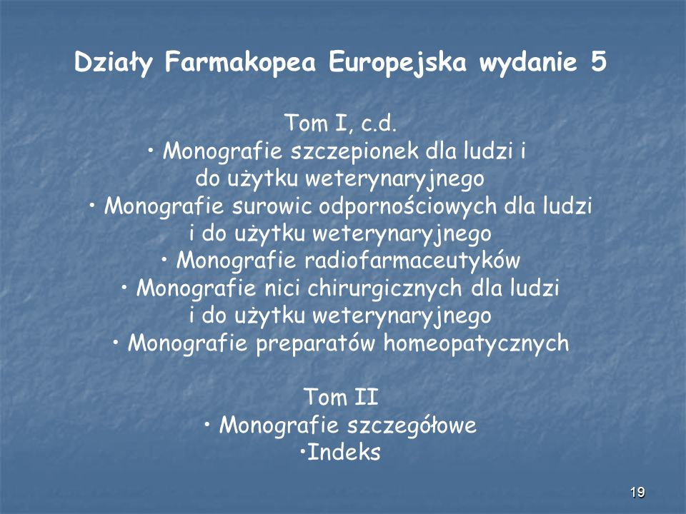 Działy Farmakopea Europejska wydanie 5