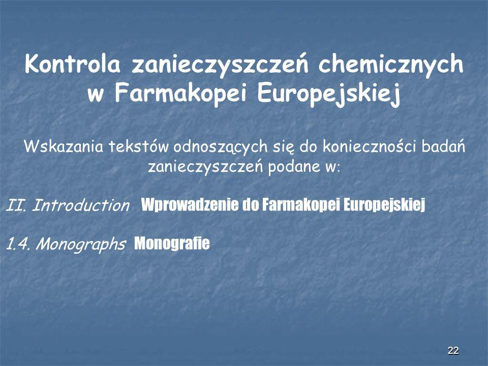 Kontrola zanieczyszczeń chemicznych