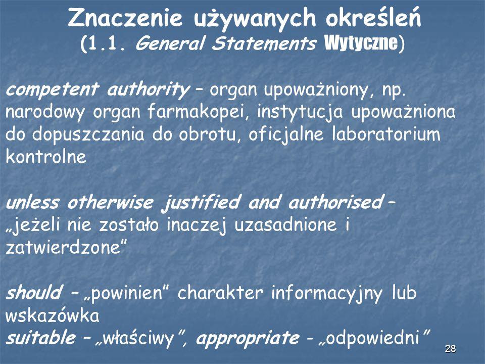 Znaczenie używanych określeń