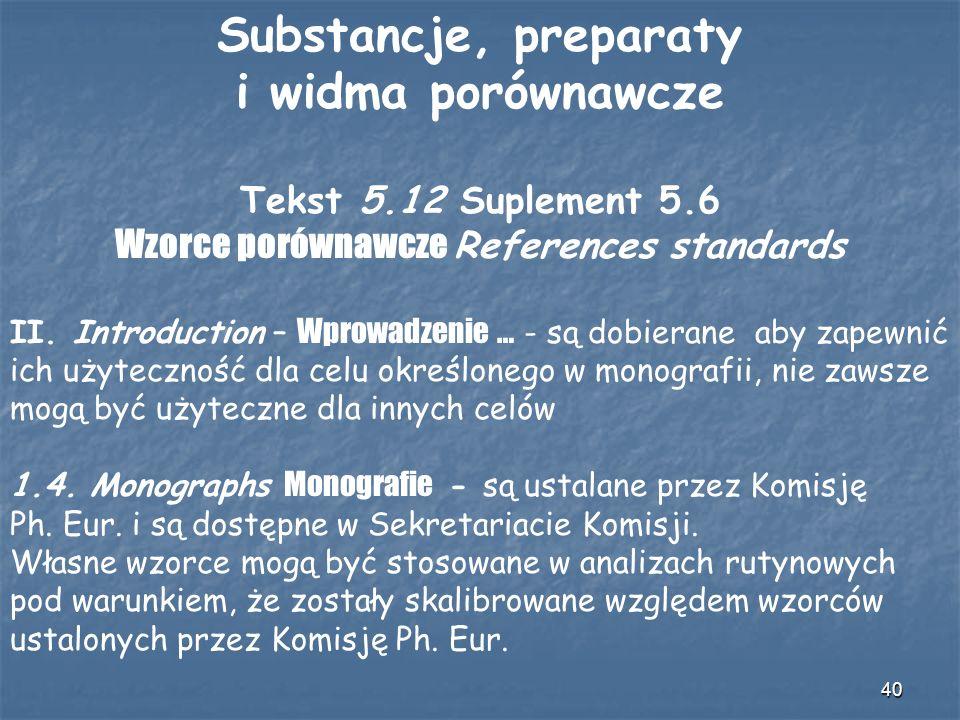 Wzorce porównawcze References standards
