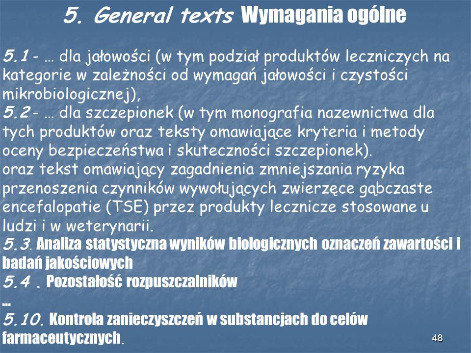 5. General texts Wymagania ogólne