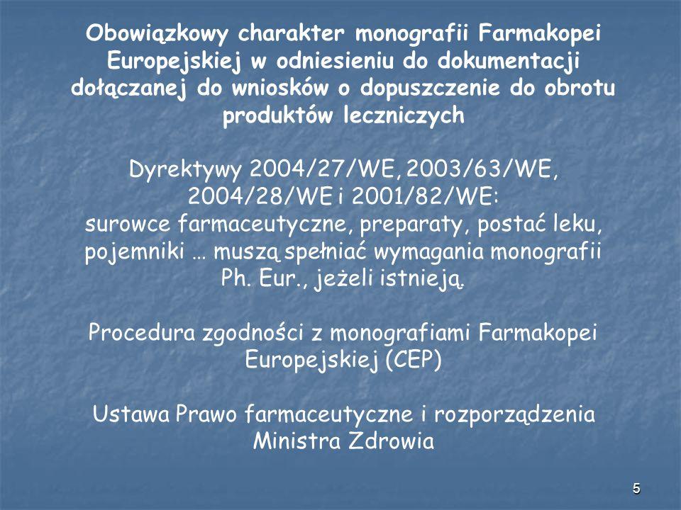 Obowiązkowy charakter monografii Farmakopei Europejskiej w odniesieniu do dokumentacji dołączanej do wniosków o dopuszczenie do obrotu produktów leczniczych Dyrektywy 2004/27/WE, 2003/63/WE, 2004/28/WE i 2001/82/WE: surowce farmaceutyczne, preparaty, postać leku, pojemniki … muszą spełniać wymagania monografii Ph.