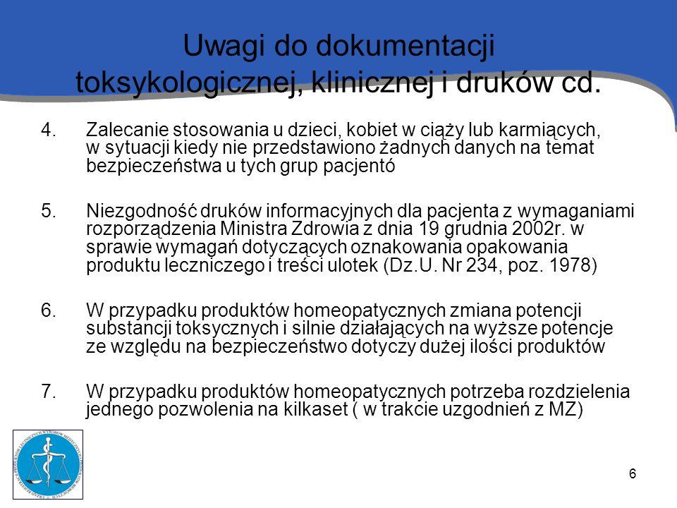 Uwagi do dokumentacji toksykologicznej, klinicznej i druków cd.