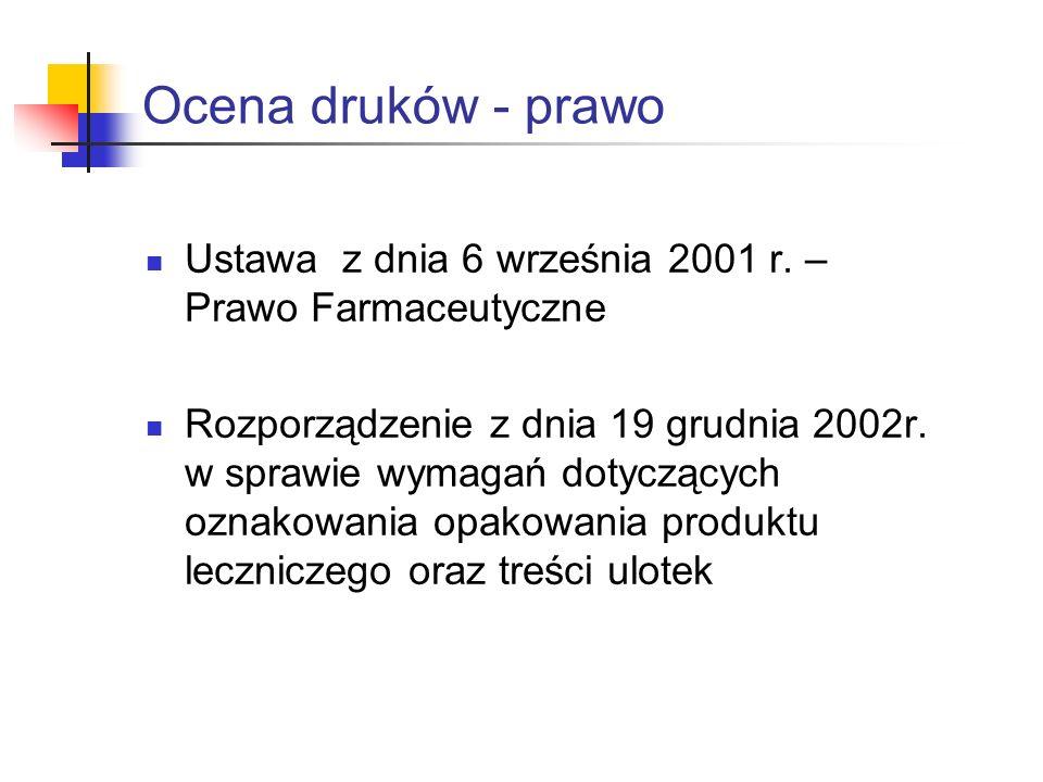 Ocena druków - prawo Ustawa z dnia 6 września 2001 r. – Prawo Farmaceutyczne.