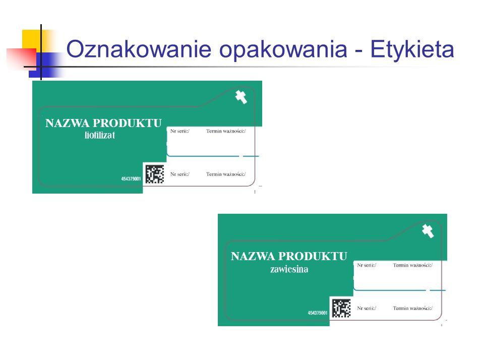 Oznakowanie opakowania - Etykieta