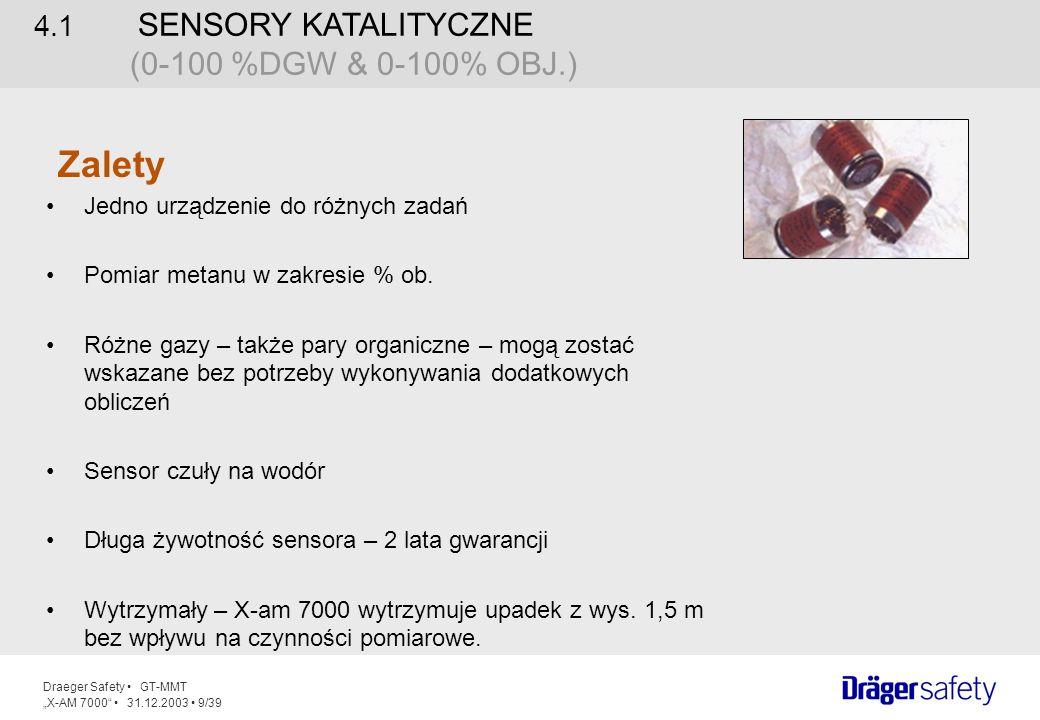 Zalety 4.1 SENSORY KATALITYCZNE (0-100 %DGW & 0-100% OBJ.)