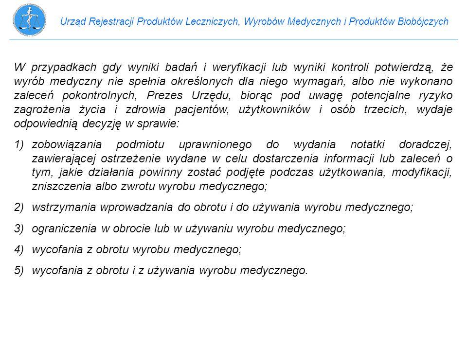 2) wstrzymania wprowadzania do obrotu i do używania wyrobu medycznego;