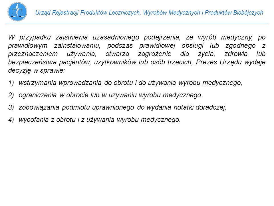 1) wstrzymania wprowadzania do obrotu i do używania wyrobu medycznego,