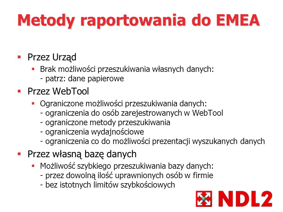 Metody raportowania do EMEA
