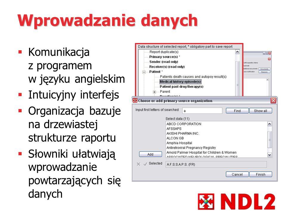 Wprowadzanie danych Komunikacja z programem w języku angielskim