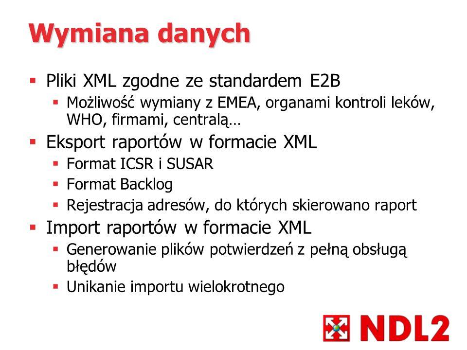Wymiana danych Pliki XML zgodne ze standardem E2B