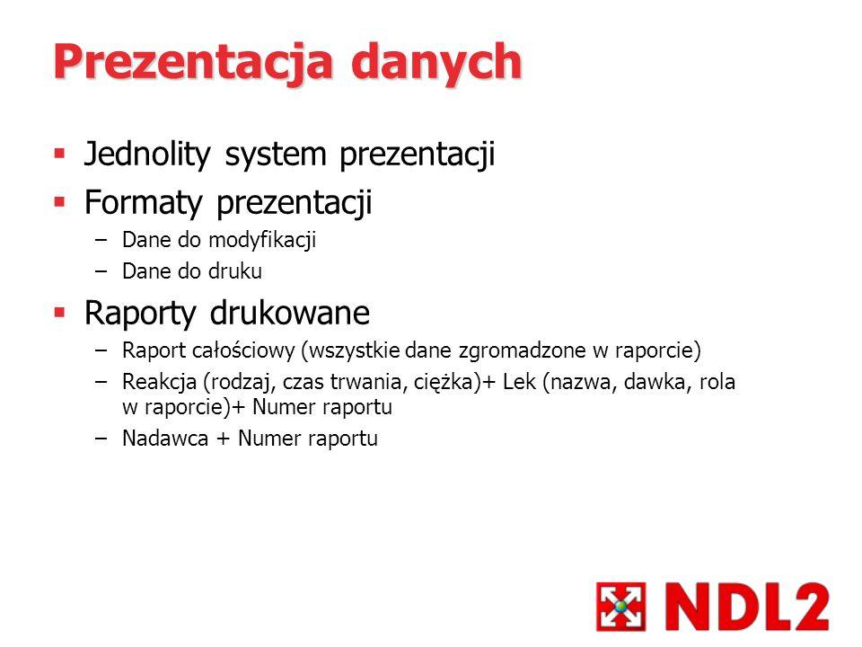 Prezentacja danych Jednolity system prezentacji Formaty prezentacji