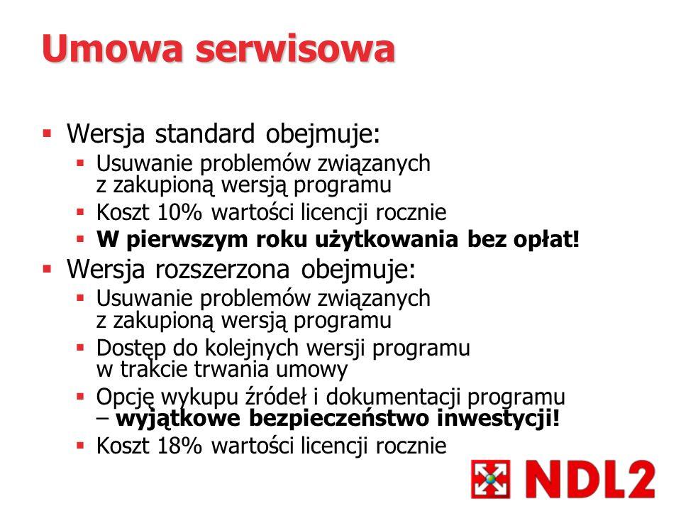 Umowa serwisowa Wersja standard obejmuje: Wersja rozszerzona obejmuje:
