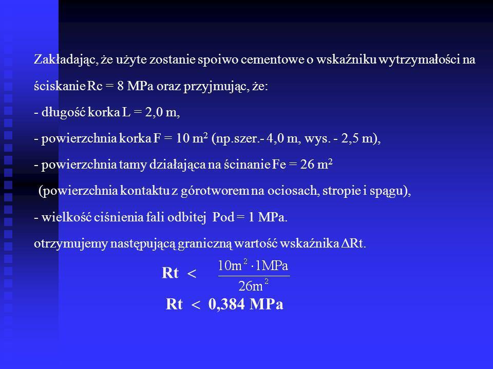 Zakładając, że użyte zostanie spoiwo cementowe o wskaźniku wytrzymałości na ściskanie Rc = 8 MPa oraz przyjmując, że: - długość korka L = 2,0 m, - powierzchnia korka F = 10 m2 (np.szer.- 4,0 m, wys.