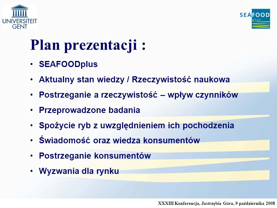 Plan prezentacji : SEAFOODplus