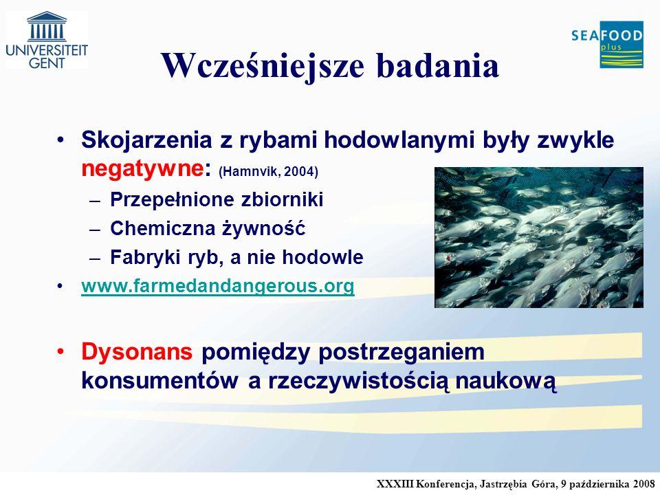 Wcześniejsze badania Skojarzenia z rybami hodowlanymi były zwykle negatywne: (Hamnvik, 2004) Przepełnione zbiorniki.