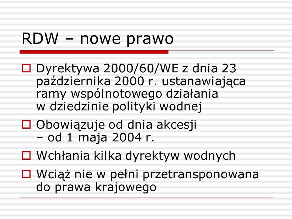 RDW – nowe prawo Dyrektywa 2000/60/WE z dnia 23 października 2000 r. ustanawiająca ramy wspólnotowego działania w dziedzinie polityki wodnej.